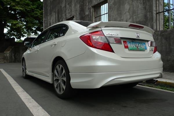 White Honda Civic back view