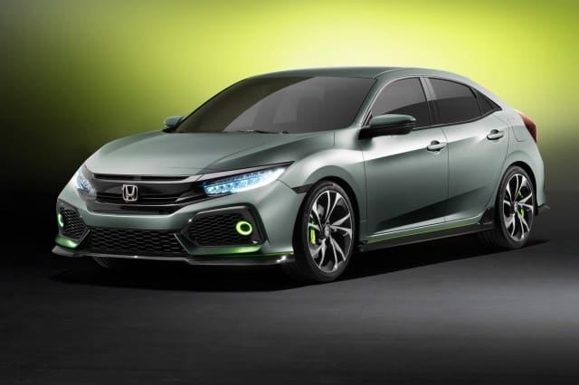 Silver Honda Civic hatchback 2017 - front and side view