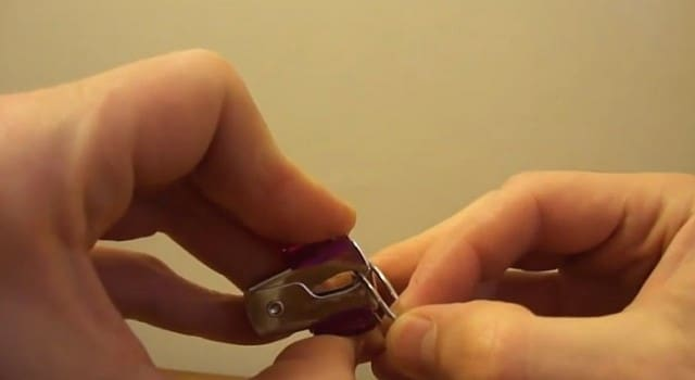 Staple remover used to open car key holder