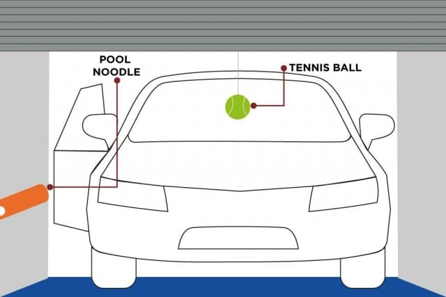 Diagram of how to place tennis ball and pool noodle