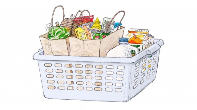 Laundry basket used as a grocery basket