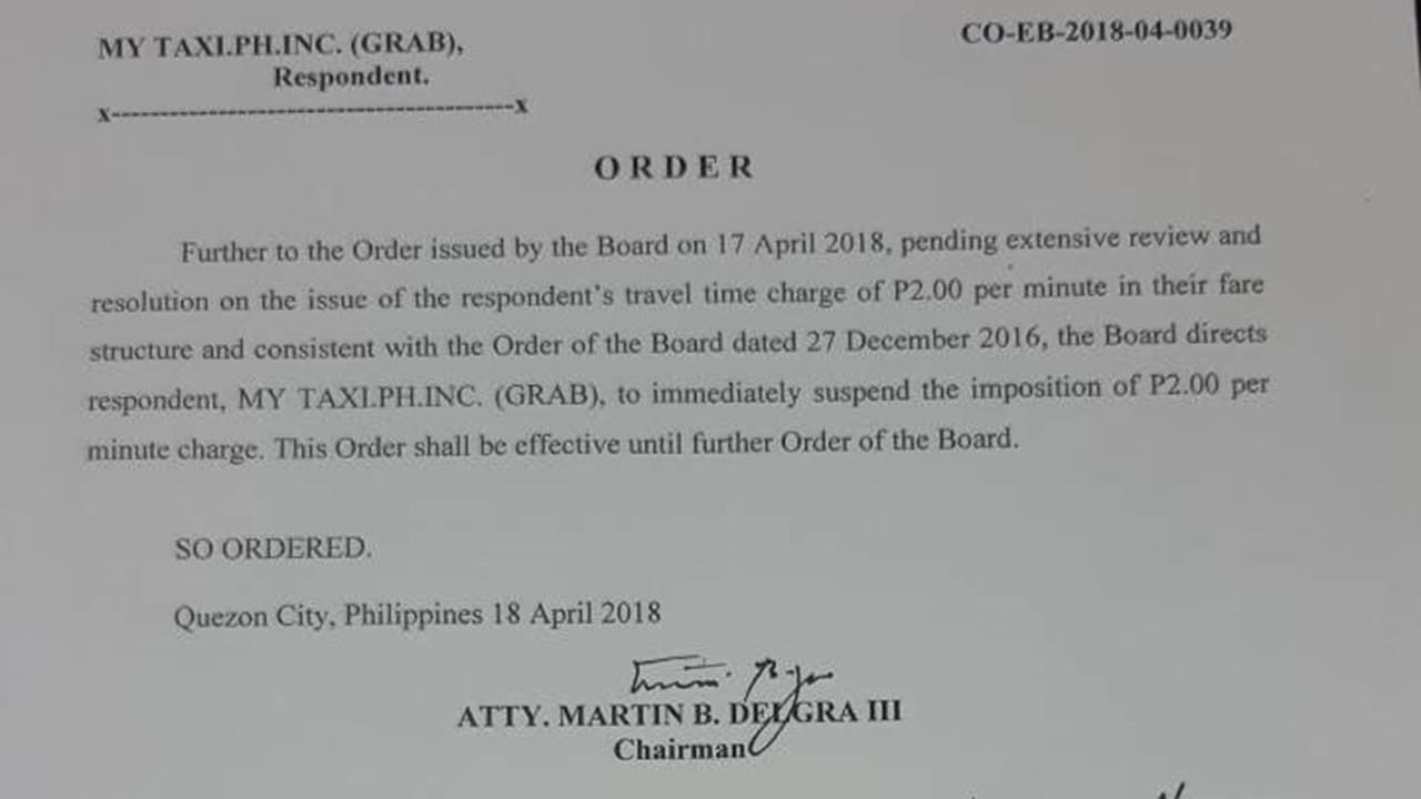 LTFRB Orders Grab PH to Suspend PHP2 Per Minute Charge