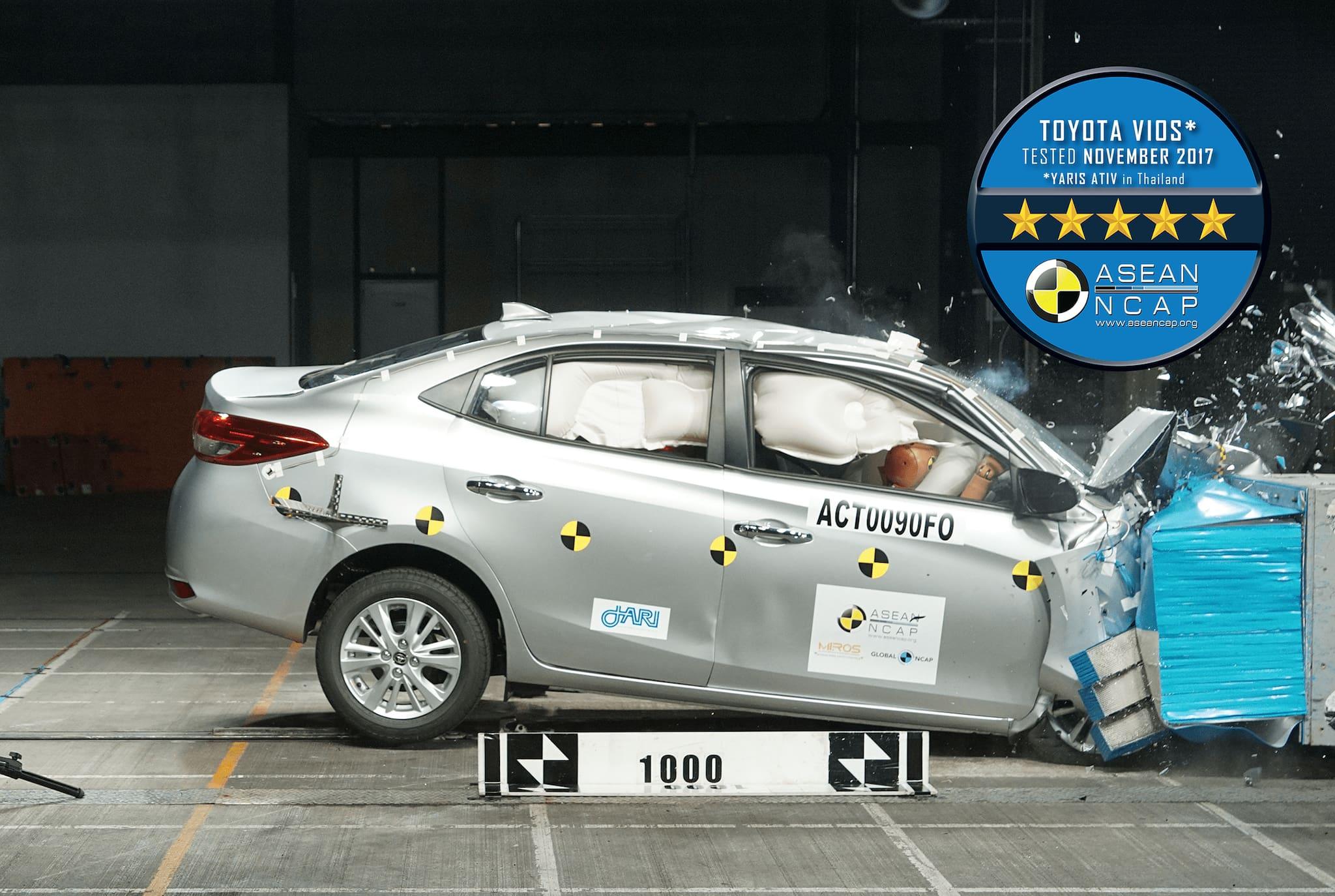 All-New Toyota Vios Scores 5-Star ASEAN NCAP Rating