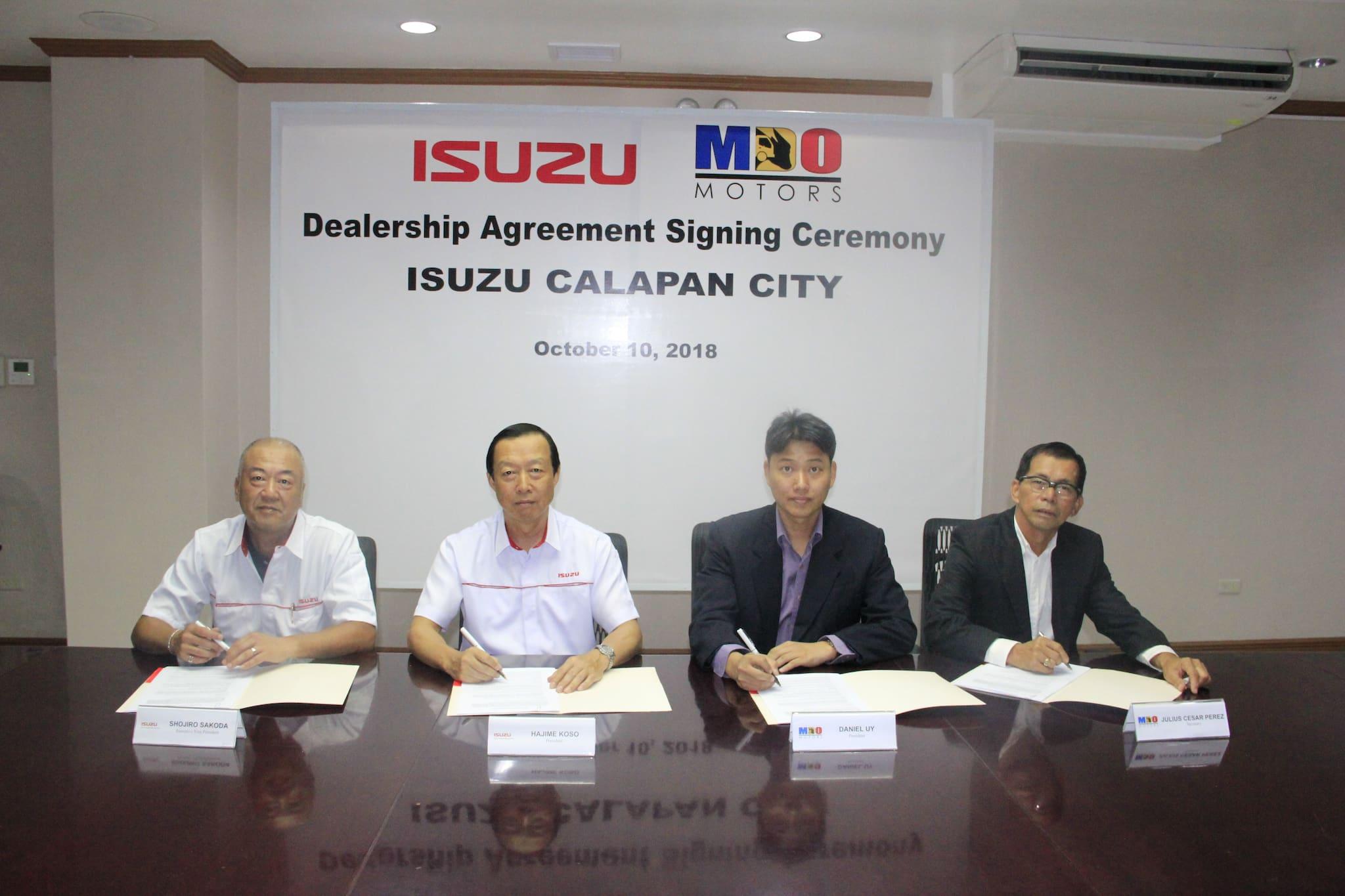 Isuzu PH, Mina de Oro Motors Sign MOA Establishing Isuzu Dealership in Calapan