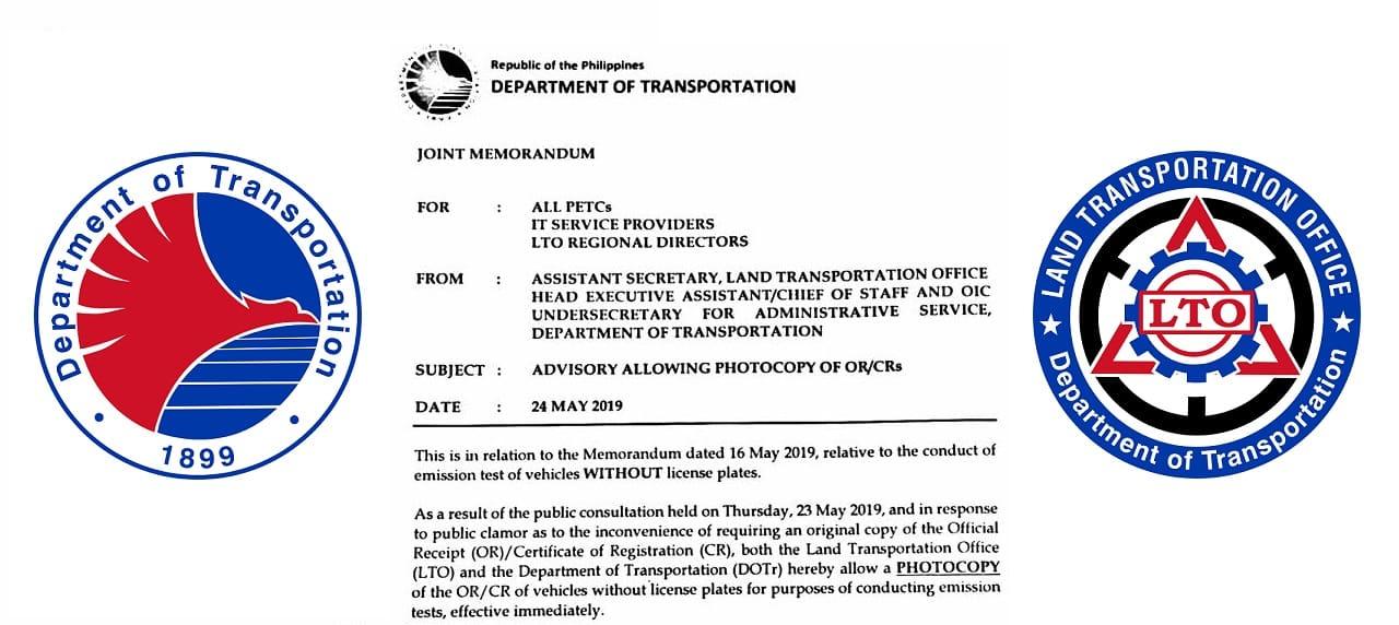 Original OR/CR No Longer Necessary for Emissions Testing