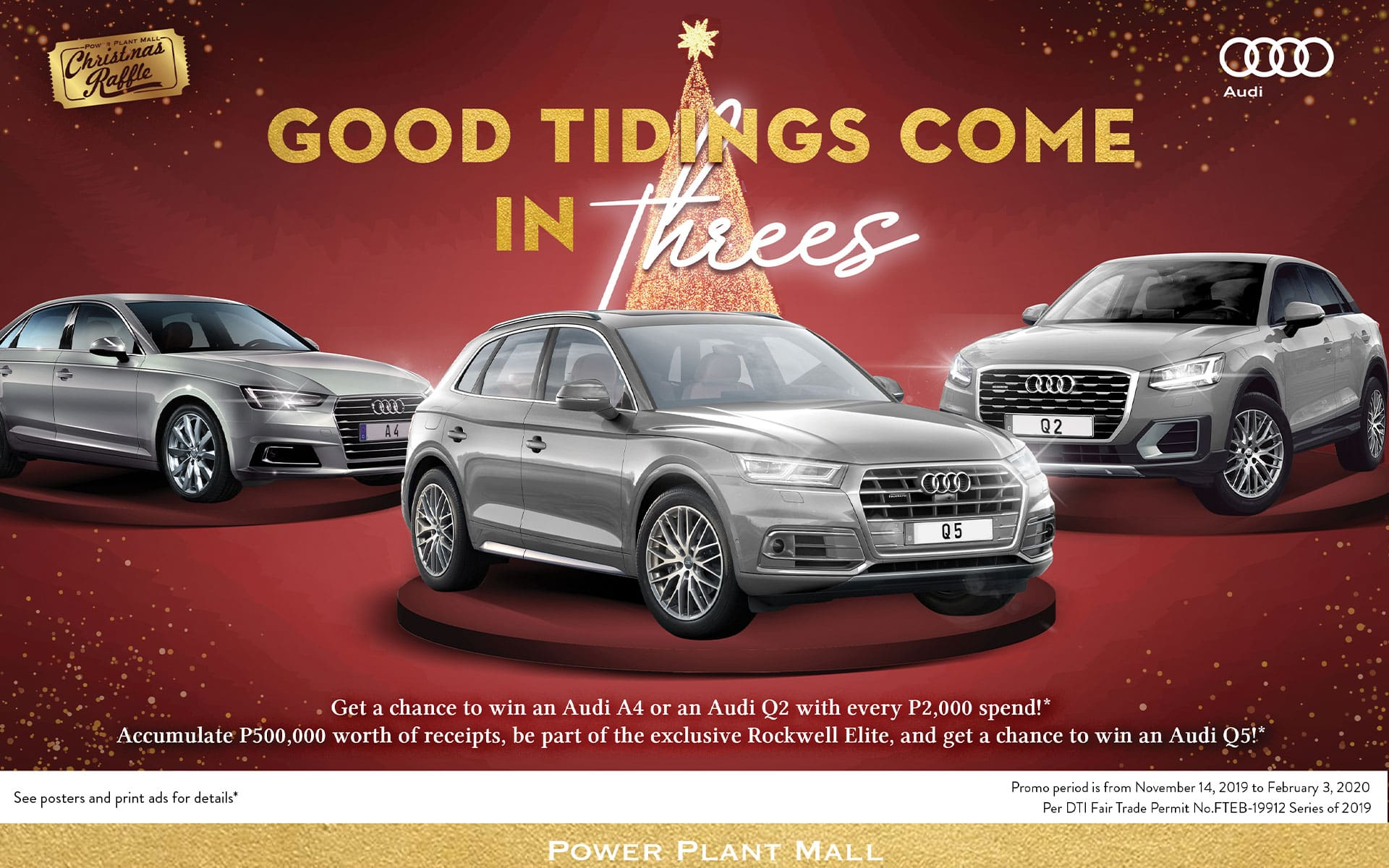 Get a chance to win Audi A4, Q2 or Q5 when you shop at Power Plant Mall in Makati