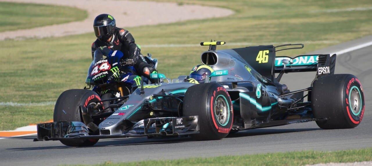 Watch F1's Hamilton, MotoGP's Rossi Trade Rides
