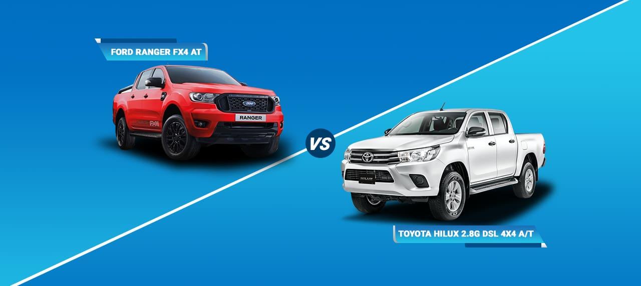 Car Comparison: Ford Ranger FX4 AT vs Toyota Hilux 2.8G DSL 4x4 A/T