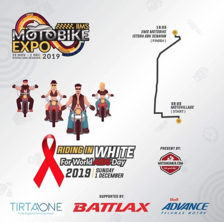 Peringati Hari Aids Sedunia, Motovaganza Gelar Sunmori to IIMS Motobike Expo
