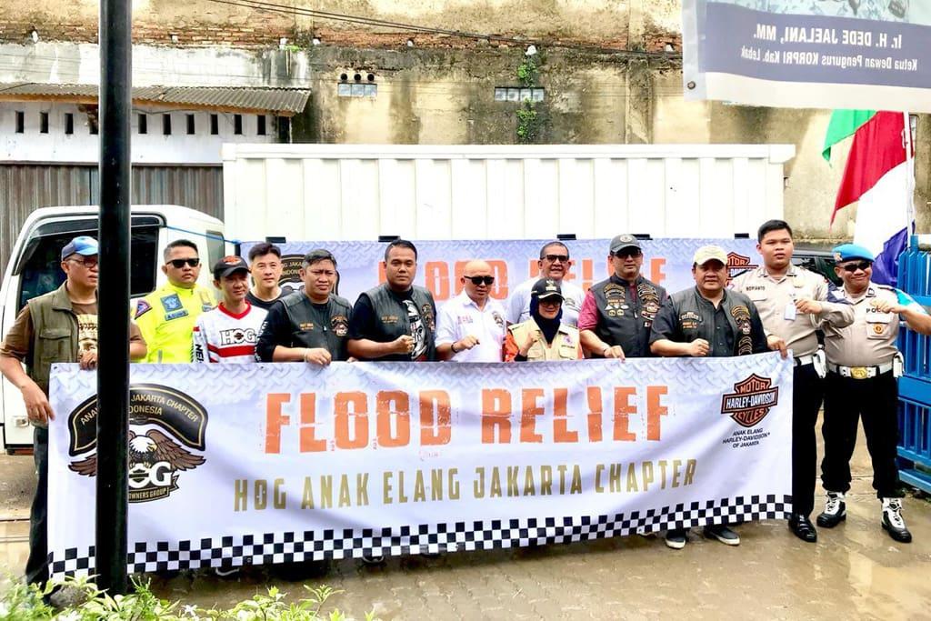 Harley-Davidson Anak Elang Jakarta Bantu Korban Banjir Lebak Banten