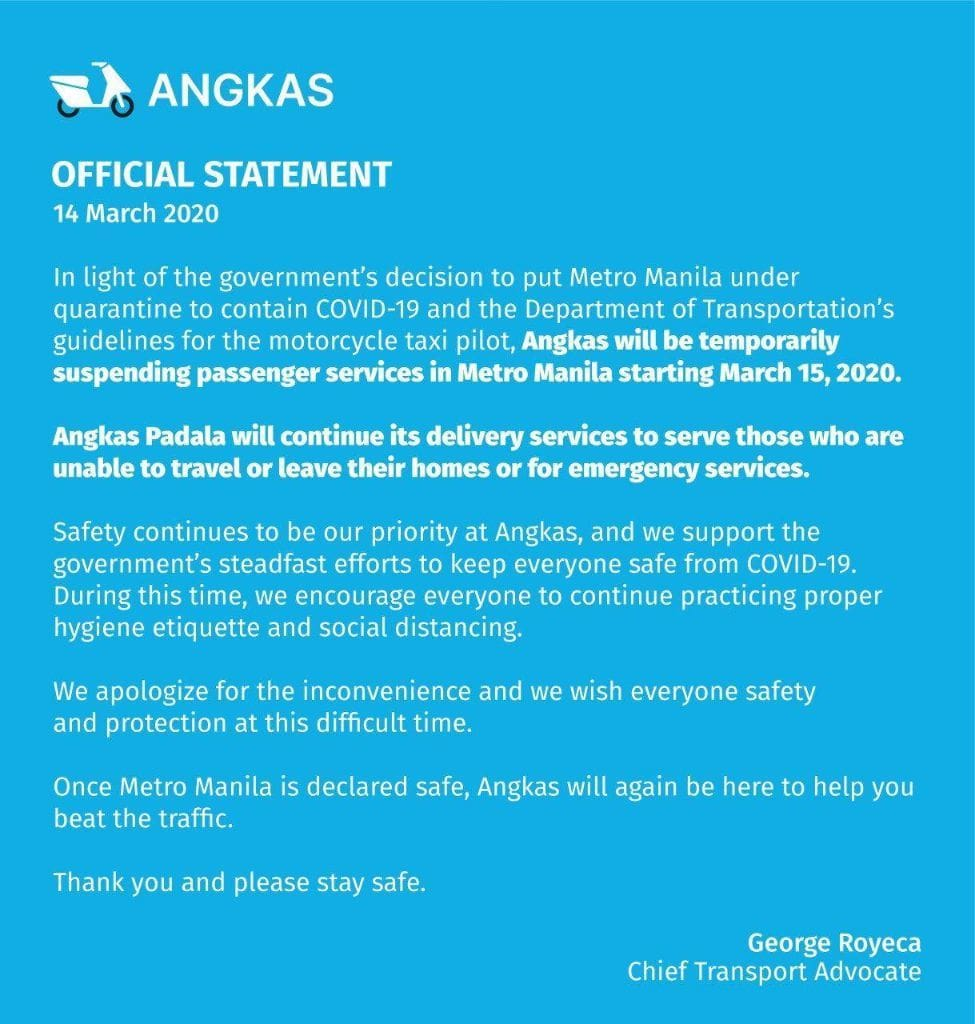 Angkas Statement