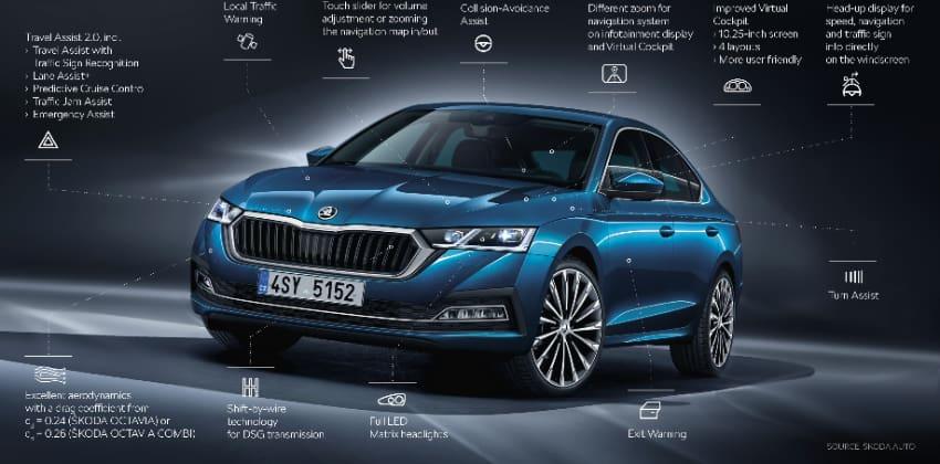 Škoda Octavia, front, blue