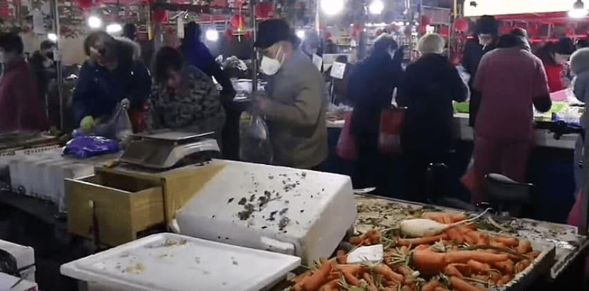 Wuhan public market in China
