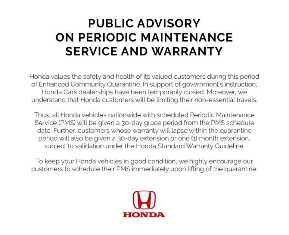 Honda Cars advisory