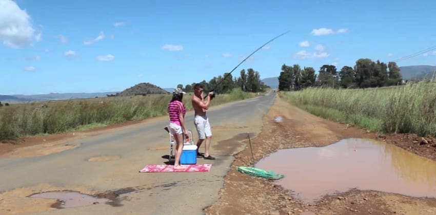 Pothole filled with water