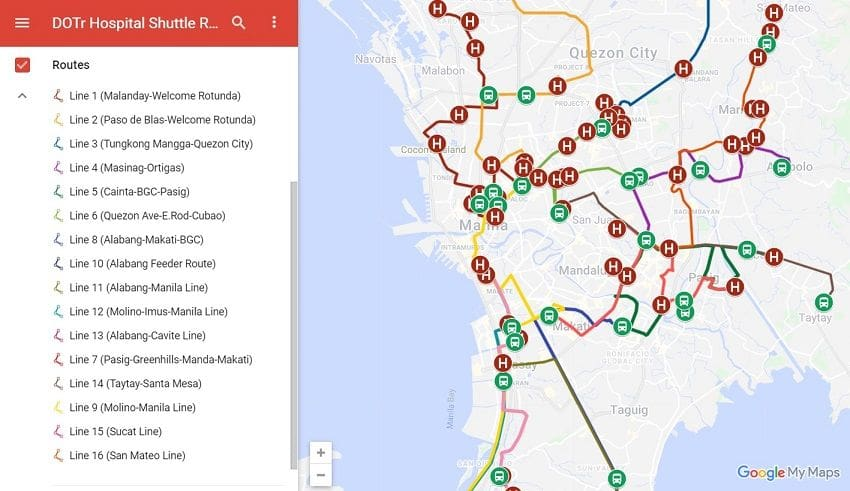 DOTr P2P Bus Routes
