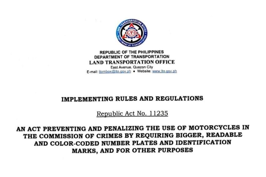 LTO releases IRR on 'Doble Plaka Law', many plates still pending