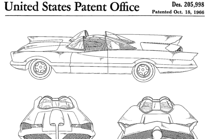 The patent for the 1966 television Batmobile, built by George Barris from a Lincoln Futura concept car