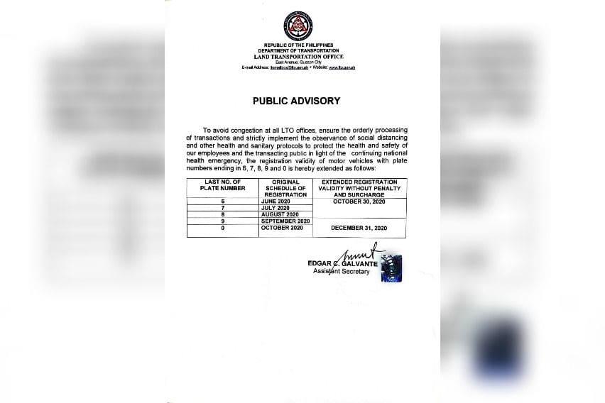 LTO advisory registration extension
