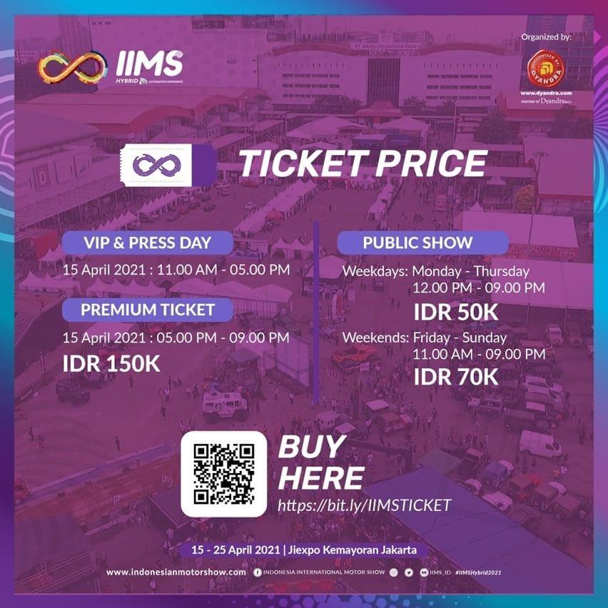 harga tiket IIMS 2021